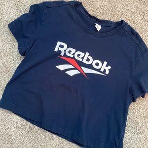 Reebok navy vector crop top T-shirt